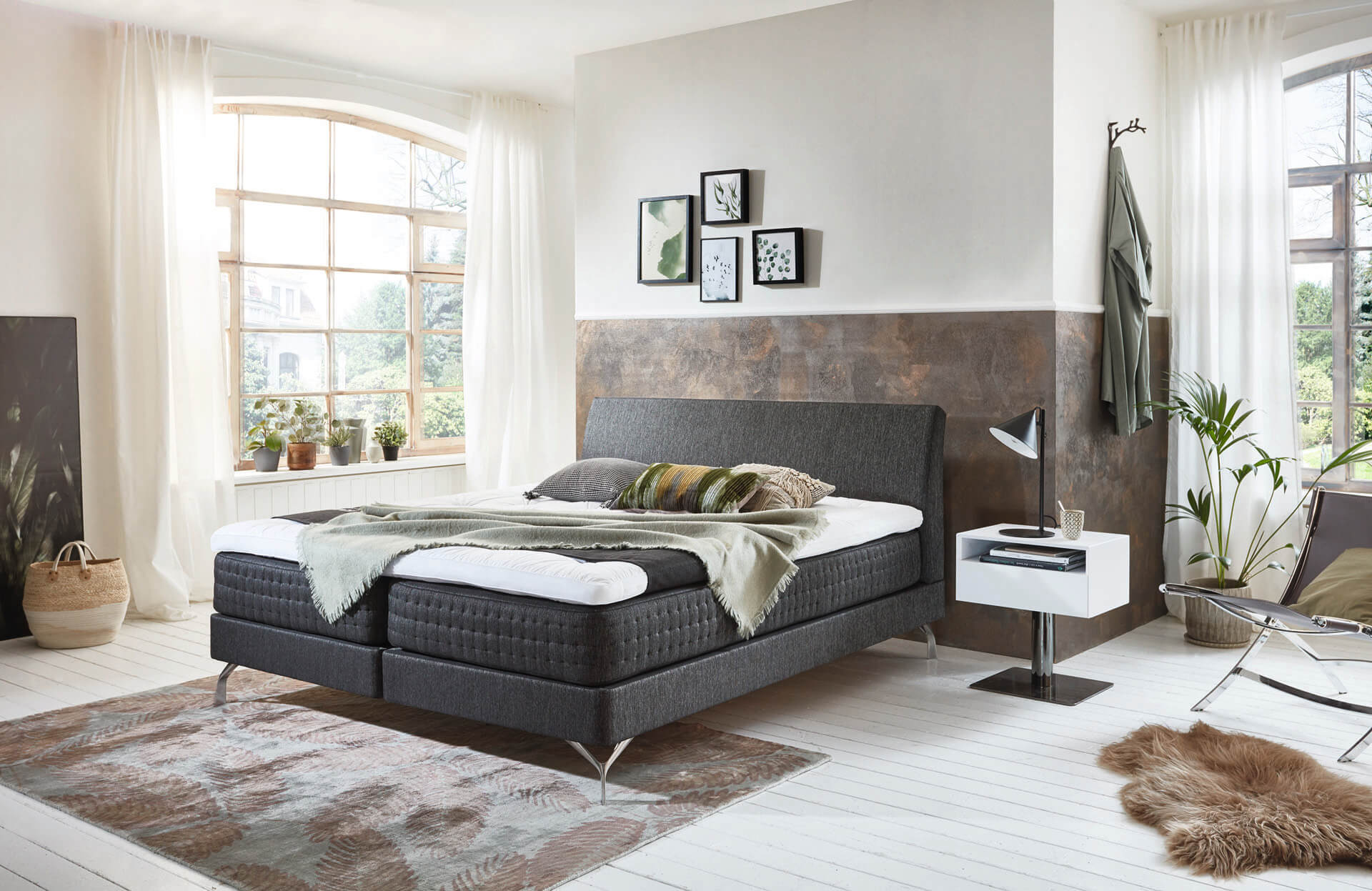 Kamjo box spring bed box 15 in Anouk coal from Smart Collection with foot Fiona