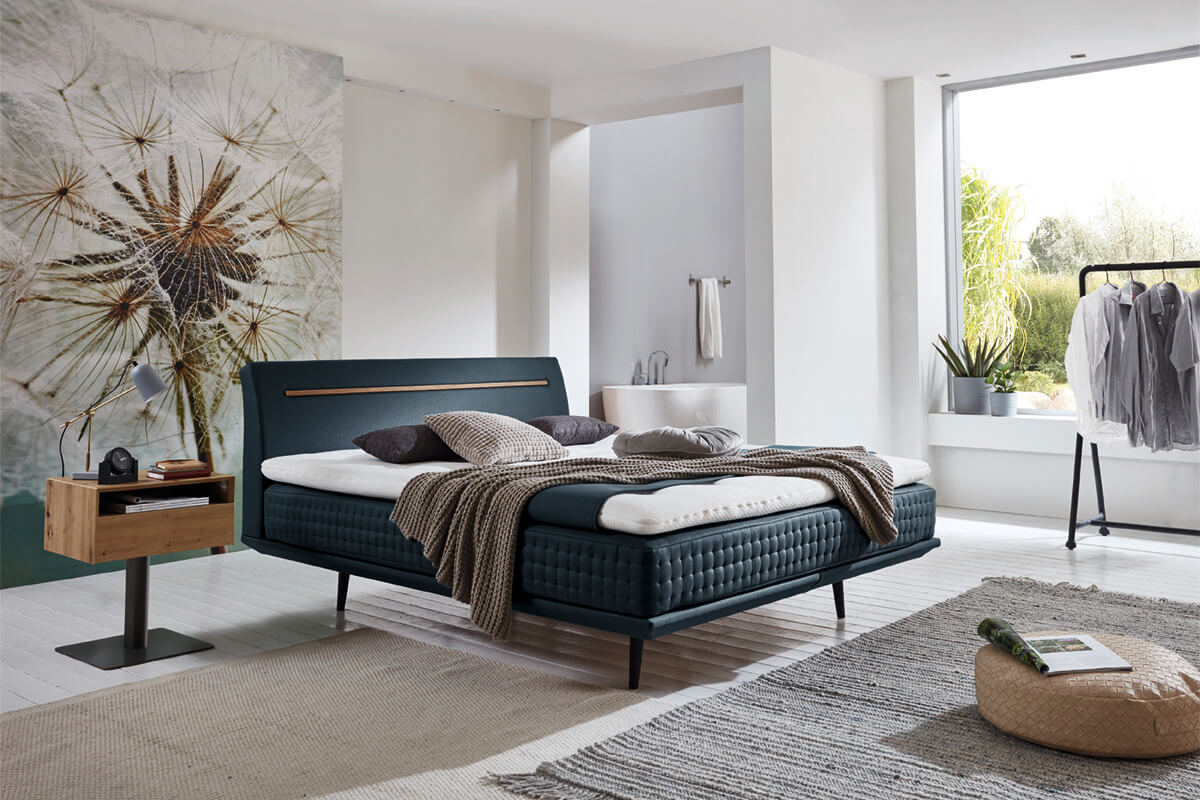 Smart Collection: bed with headboard Alvaro plus in color Anouk turquoise